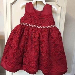 Blueberi Blvd Red Lace Toddler Dress